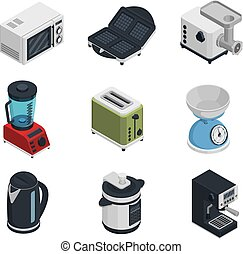 Kitchen Appliances Icons Set - Kitchen appliances isometric...