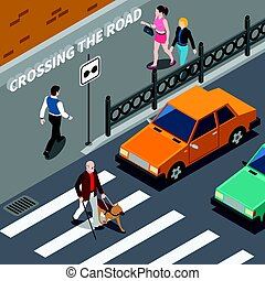 Blind Person On Crosswalk Isometric Illustration - Blind...