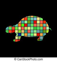 Land turtle reptile color silhouette animal. Vector...
