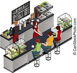 Hipster Coffee Bar Isometric Poster - Hipsters at coffee...