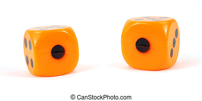 Two plastic dice showing ones