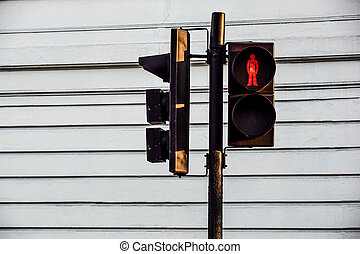 Red traffic light, for pedestrians on the street