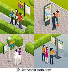 Tourists Street Map 4 Icons - Outdoor city streets plan...