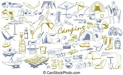 Hand Drawn Camping Elements Set - Hand drawn camping...