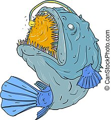 Anglerfish Swooping up Lure Drawing - Drawing sketch style...