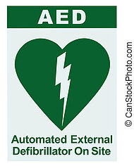 AED Automated External Defibrillator Inside On Site Text,...