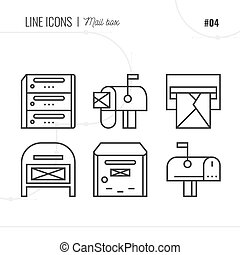 Vector Icon Style Illustration of Mail, letter box, letter,...