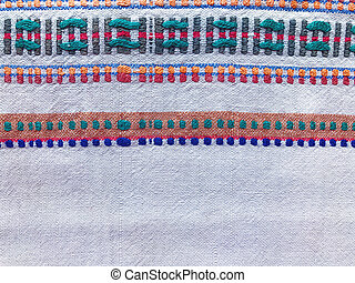 Natural homespun canvas with ukrainian ethnic ornaments -...