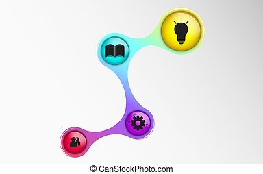 Infographics for business projects. The diagram in 3d style. Iridescent colors. Volumetric, glossy balls with symbols. Business strategy. Vector illustration of a metaball style