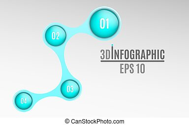 Infographics for business projects. Glossy diagram in 3d style. Volumetric, glossy balls with option numbers. Business strategy. Vector illustration of a metaball style