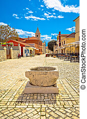 Historic town of Nin cobbled square, Dalmatia, Croatia