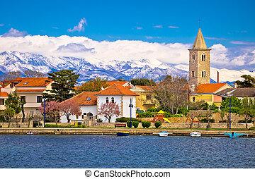 Town of Nin and Velebit mountain background, Dalmatia,...