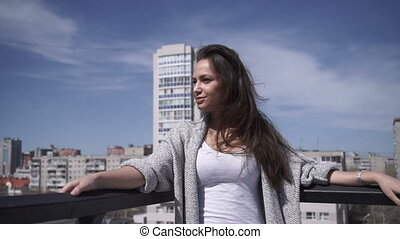 Woman looking away at handrail - Pretty attractive girl...