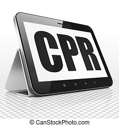 Health concept: Tablet Computer with CPR on display - Health...
