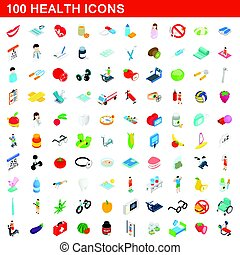 100 health icons set, isometric 3d style