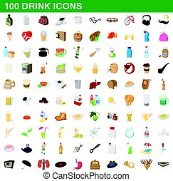100 drink icons set, cartoon style - 100 drink icons set in...