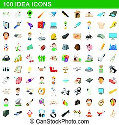 100 idea icons set, cartoon style