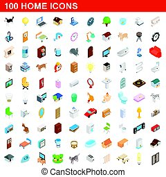100 home icons set, isometric 3d style