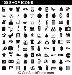 100 shop icons set, simple style