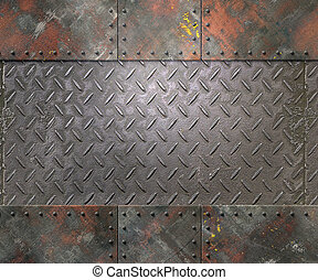 Metal texture with rivets background - Metal texture with...