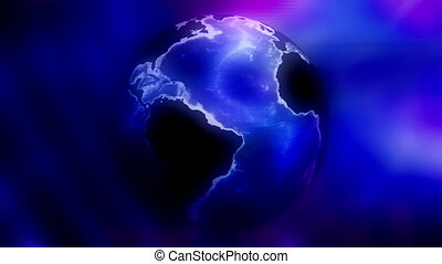 Blue and magenta globe abstract animated CG background -...