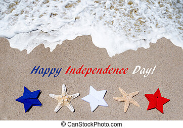 Independence Day USA background with starfishes and stars on...