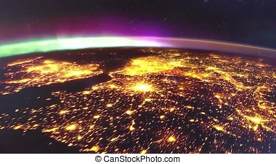 Planet earth from the space at night animation. the flight from space to earth amination. Planet earth at night animation.