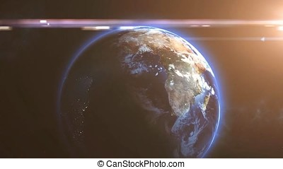 Plant earth from cosmos animation. Planet earth view from space animation. Imaginary view of earth. The ocean from space