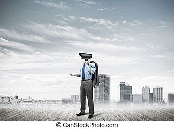 Concept of security and privacy protection with camera headed ma
