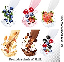 Set of different milk splashes with fruit, nuts and berries. Vector.