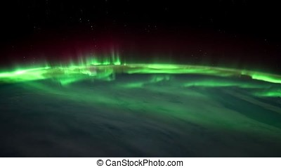 Northern lights view from space. Animation. Northern lights...