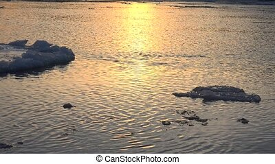 Ice floe floats in water. 4K. - Ice floe floats in water....