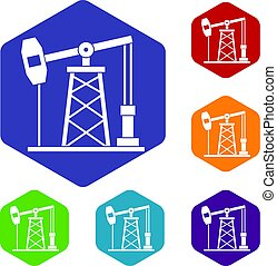 Oil derrick icons set hexagon isolated vector illustration