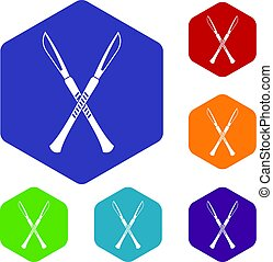 Surgeon scalpels icons set hexagon isolated vector...