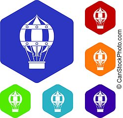 Old fashioned helium balloon icons set hexagon - Old...