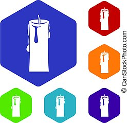 One candle icons set hexagon isolated vector illustration