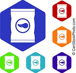 Chips plastic bag icons set hexagon isolated vector...