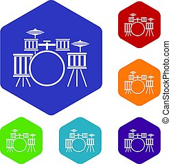 Drum kit icons set hexagon isolated vector illustration
