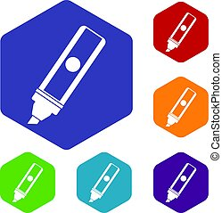 Permanent marker icons set hexagon isolated vector...