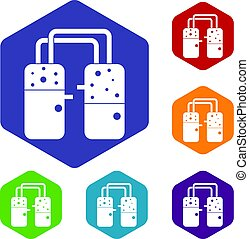 Containers connected with tubes icons set hexagon isolated...