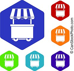 Food trolley with awning icons set hexagon
