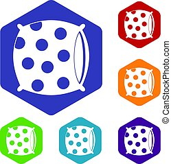 Pillow with dots icons set hexagon isolated vector...