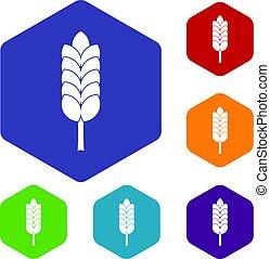 Big spica icons set hexagon