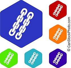 Chains icons set hexagon isolated vector illustration