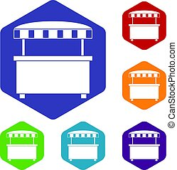 Street stall with awning icons set hexagon isolated vector...
