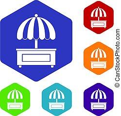 Shopping counter with umbrella icons set hexagon