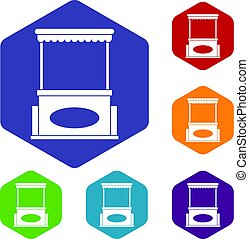 Street kiosk icons set hexagon isolated vector illustration