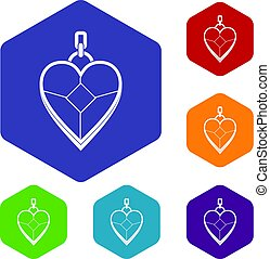 Heart shaped pendant icons set hexagon isolated vector...