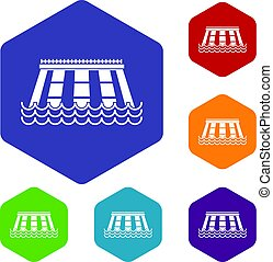 Hydroelectric power station icons set hexagon isolated...
