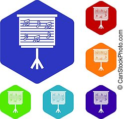 Whiteboard with music notes icons set hexagon isolated...